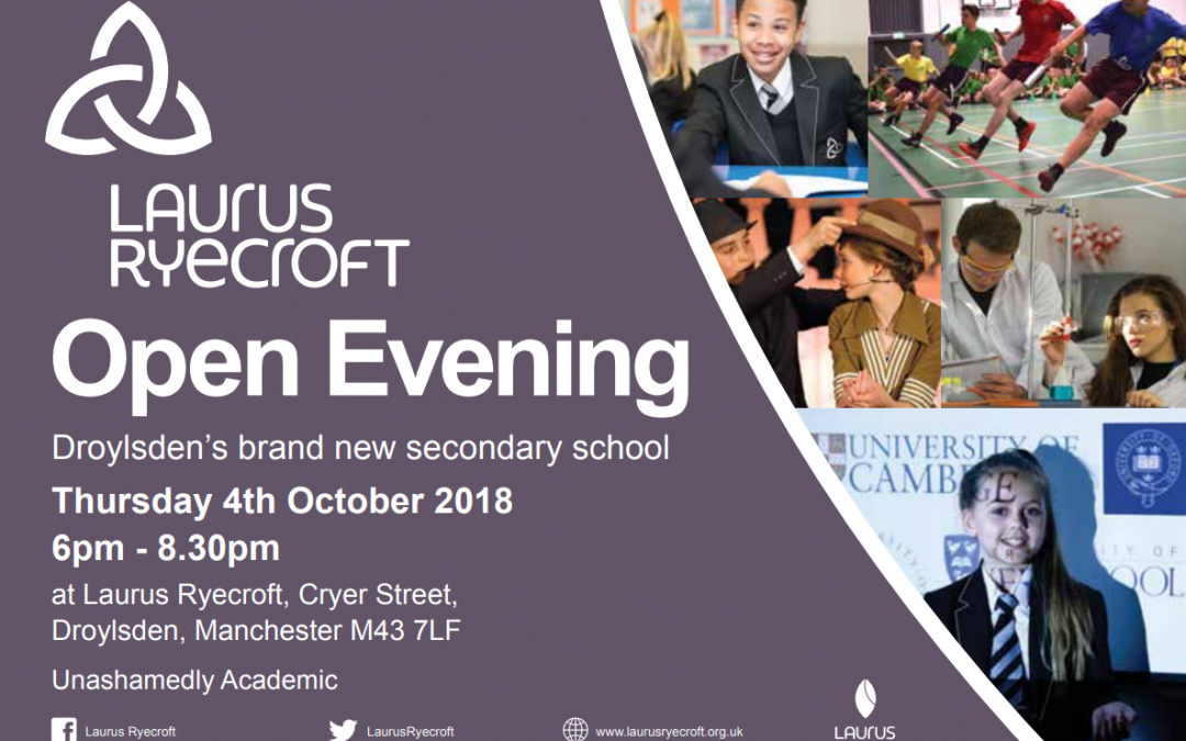 Open Evening 2018 – Thursday 4th October at Laurus Ryecroft from 6pm